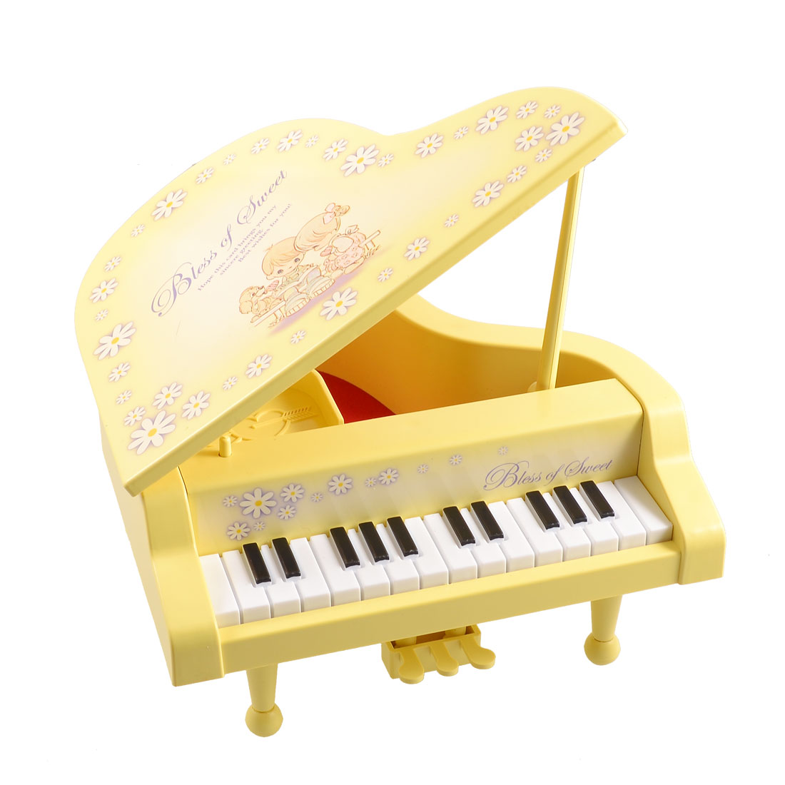 Plastic Piano Shaped Music Maker Box Case Yellow for Child