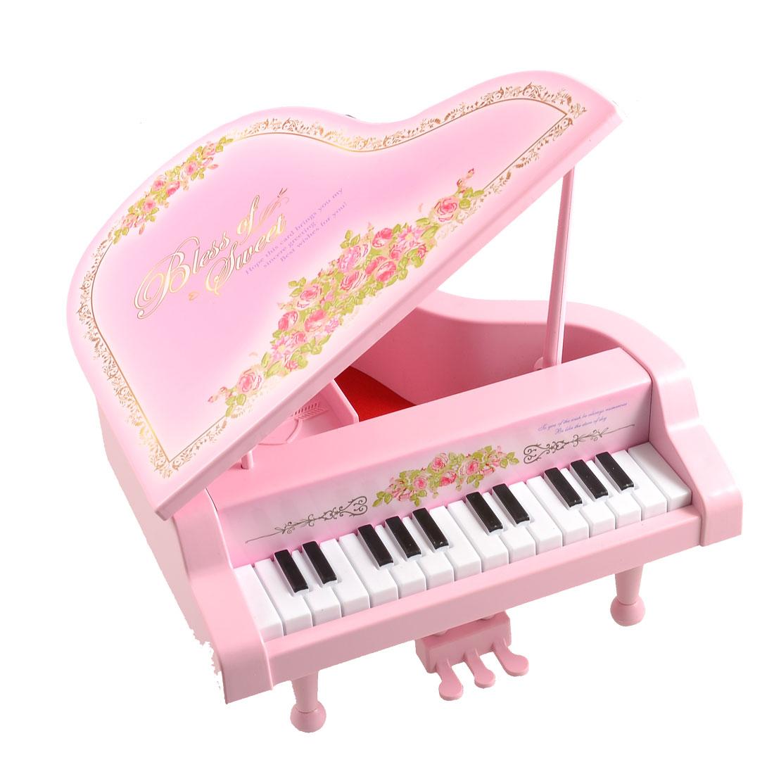 Floral Print Pink Plastic Piano Shaped Music Maker Box Jewelry Case for Child