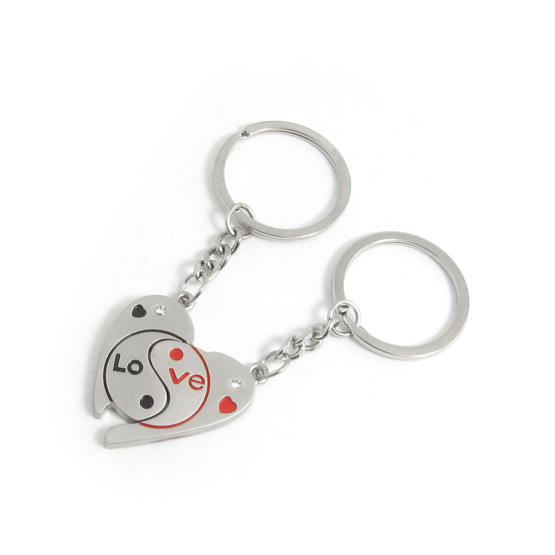 English Letters Print Half Heart Keyring Chain Pair for Lovers