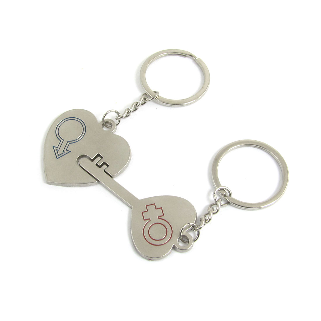 Pair Heart Shaped Lock Key Keychain Silver Tone for Lovers