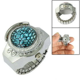 Women Cyan Plastic Faceted Crystal Detail Stretch Band Finger Ring Watch