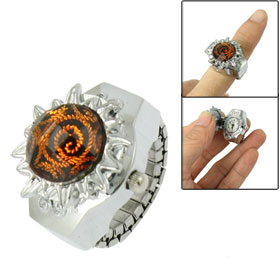 Stretch Band Citrine Plastic Crystal Flower Case Finger Ring Watch for Ladies