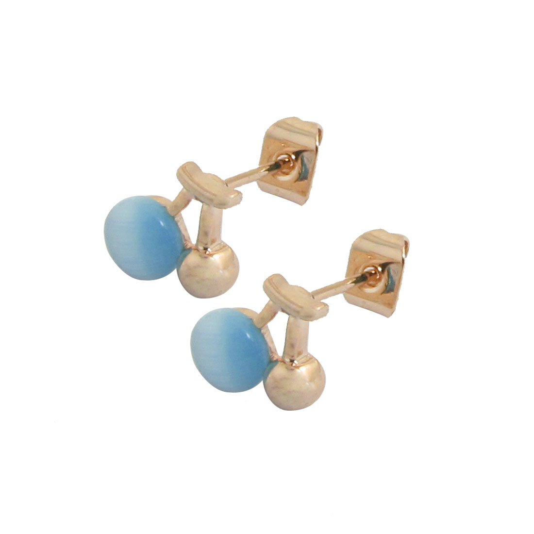 2 Pcs Gold Tone Blue Cherry Fruit Ear Stud Earrings Jewelry for Woman