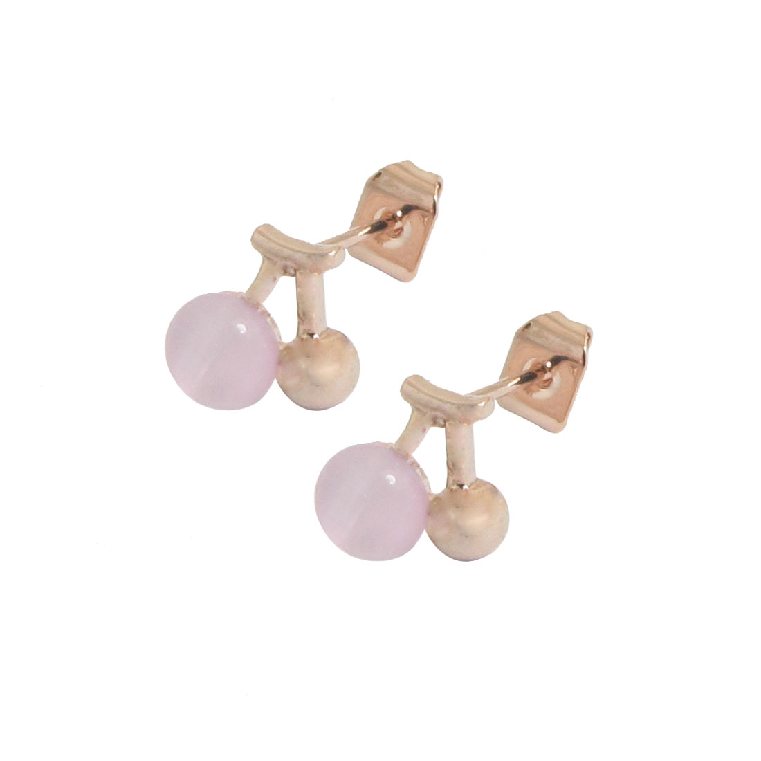 2 Pcs Gold Tone Pink Cherry Ear Stud Earrings Jewelry for Woman