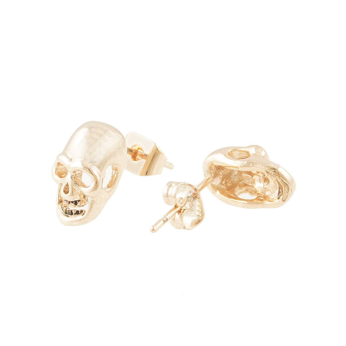 Pair Gold Tone Plastic Metal Skull Head Ear Studs Earrings