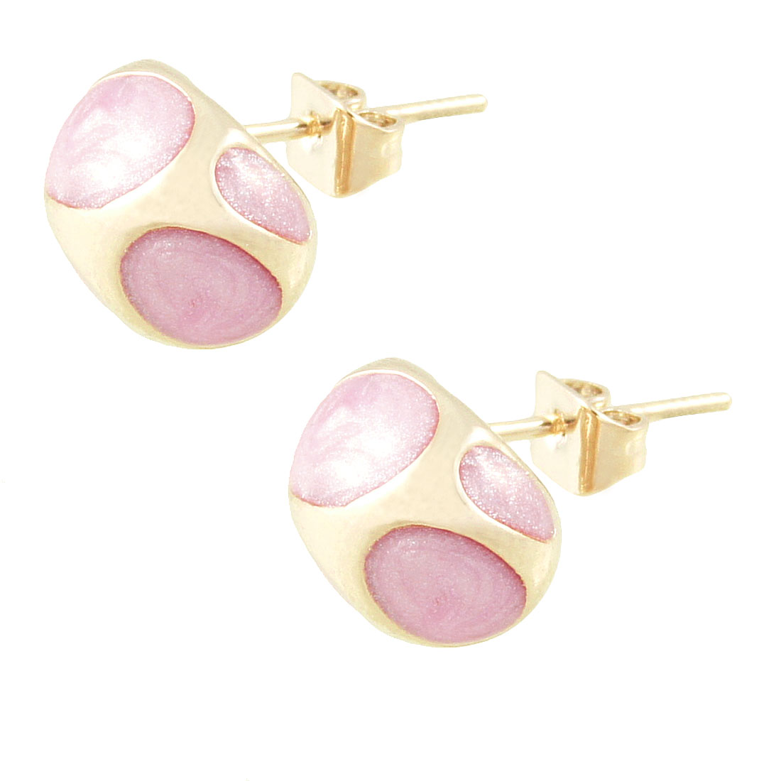 Women Party Pink Enamel Oval Printed Ear Nail Pin Stud Earrings