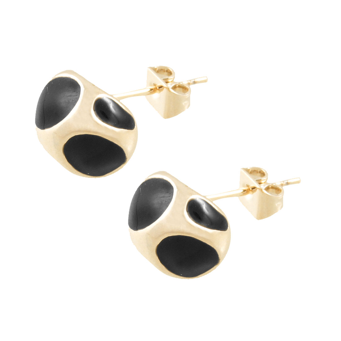 Pair Enameled Oval Printed Stud Earrings Jewelry Gold Tone Black