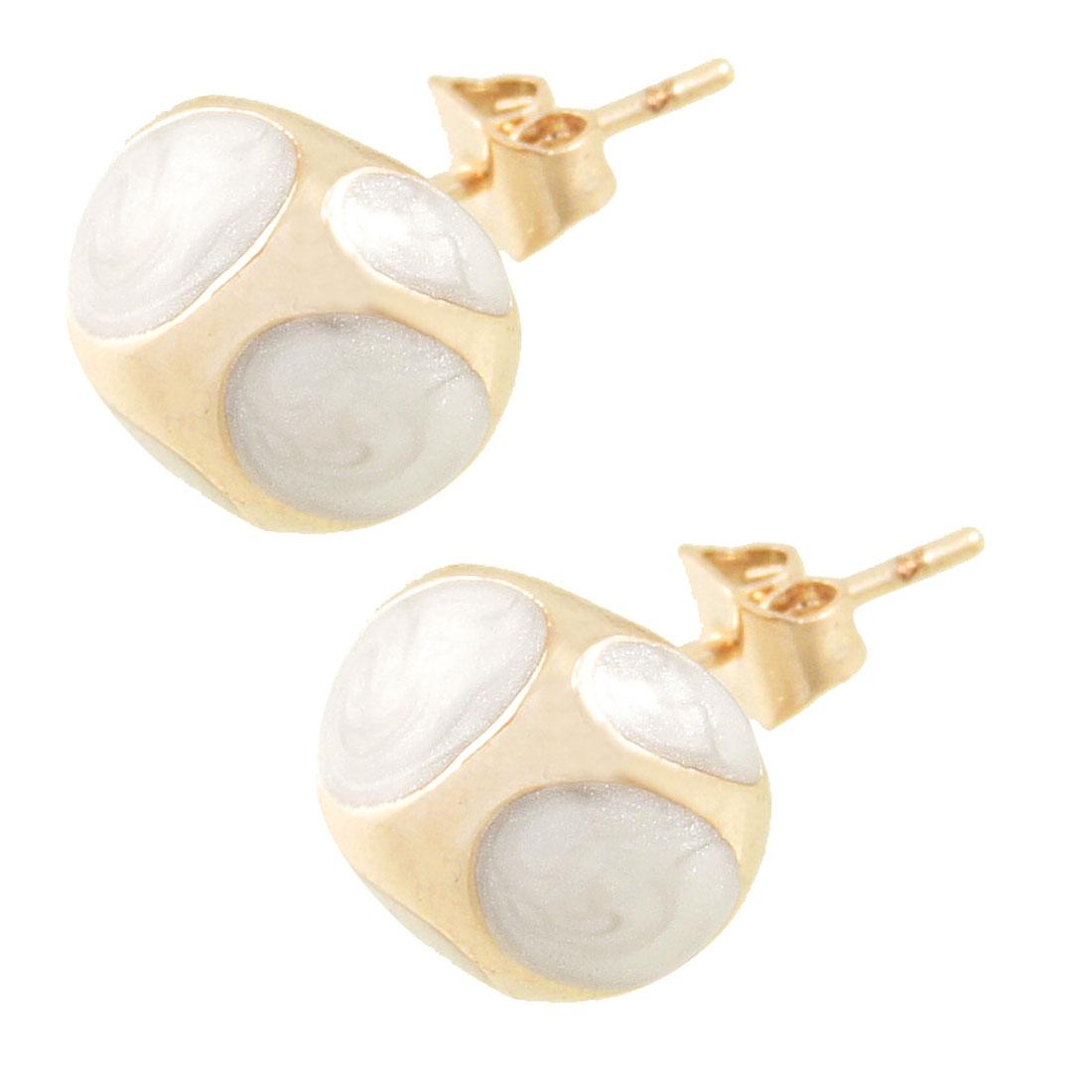 2 Pcs Gold Tone White Plastic Metal Enamel Oval Ear Stud Earrings Gift