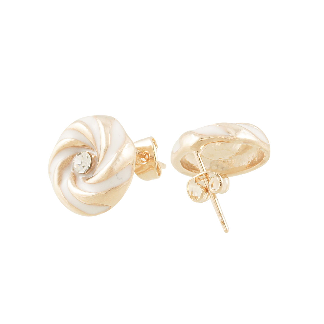 Pair Round Swirl Lollipop Ear Nail Pin Stud Earrings Gold Tone White