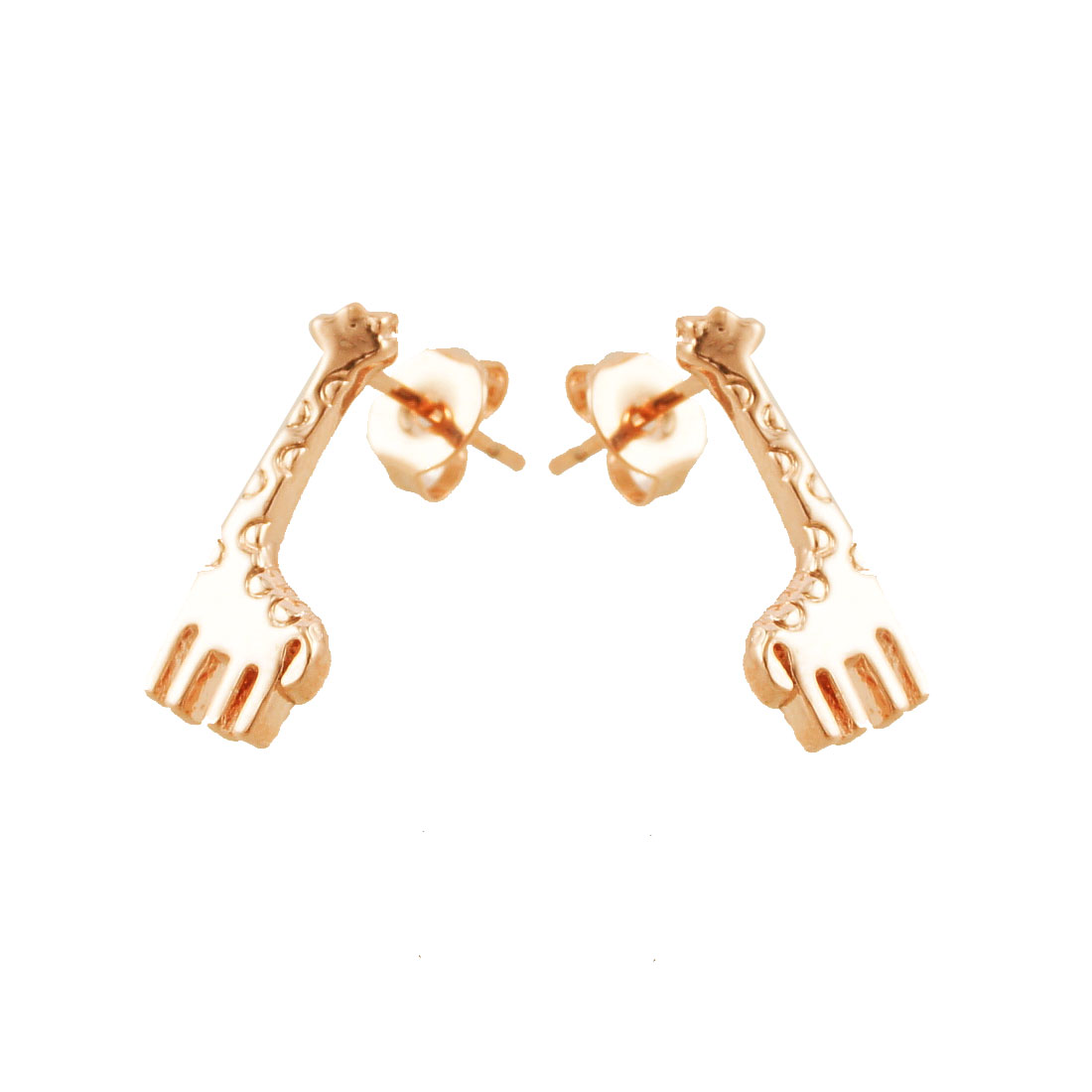 Pair Gold Tone Giraffe Shaped Ear Studs Earrings for Women