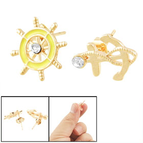 Woman Anchor Steering Wheel Ear Nail Pin Stud Earrings Yellow Gold Tone
