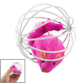 Pet Cat Kitten Exercising Toy Pink False Mouse Rat in White Cage Ball