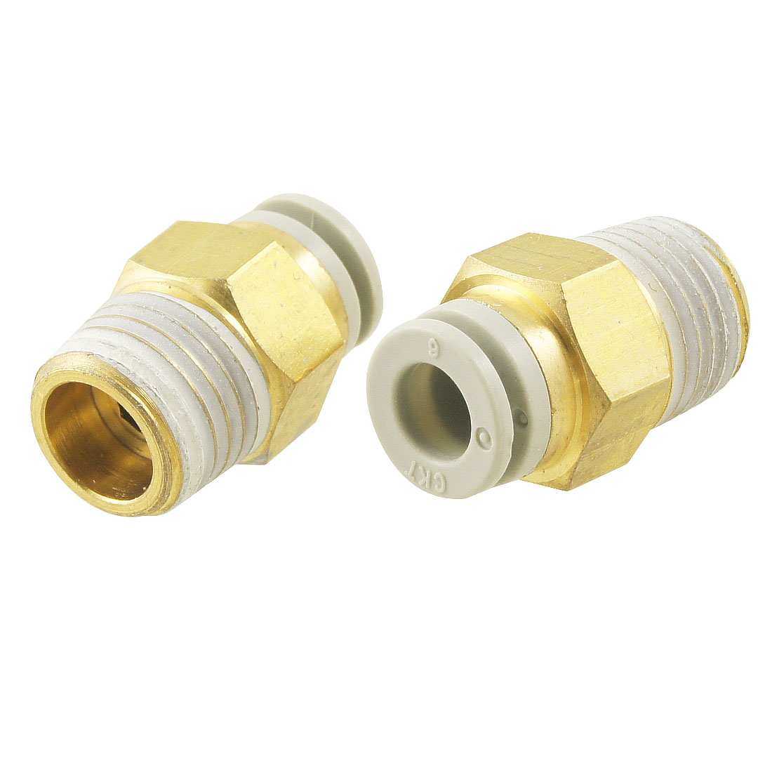 "10 Pcs Push in to Connect Pneumatic Straight Fitting 1/4"" PT x 15/64"""