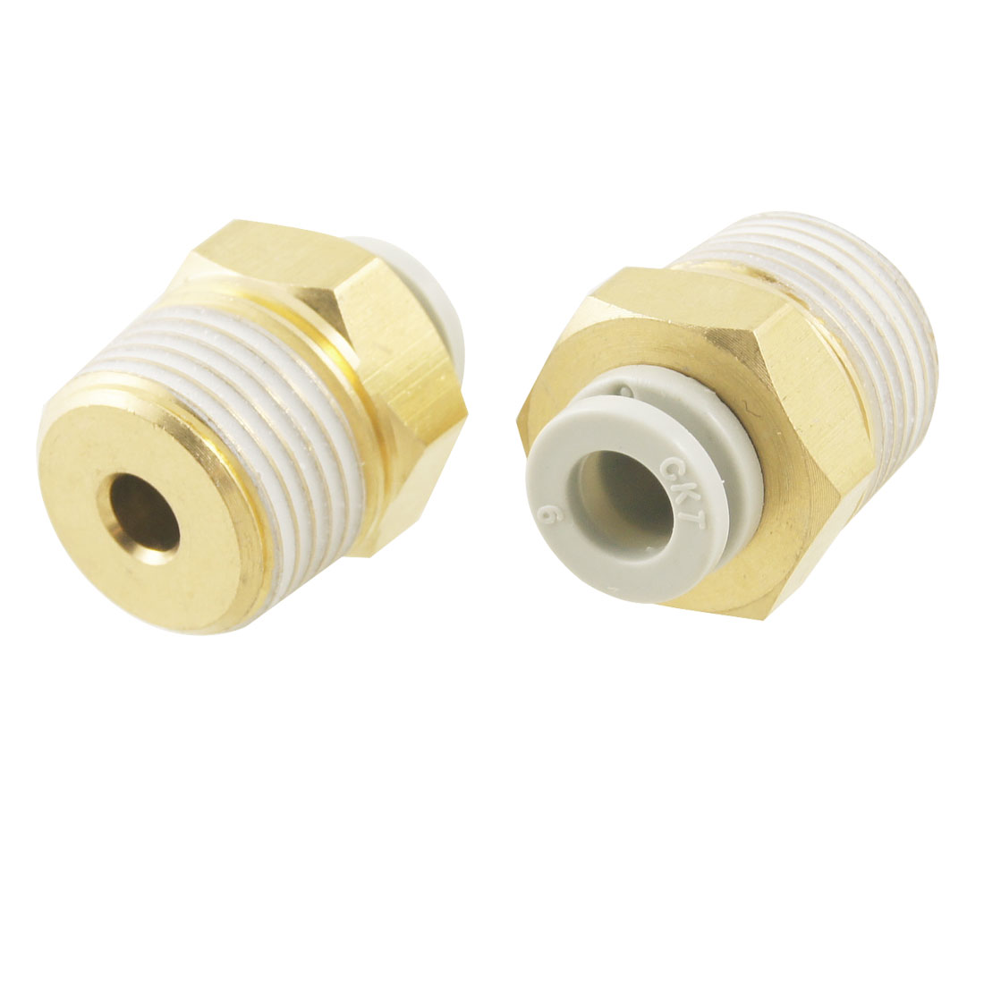 "10 Pcs Push in to Connect Pneumatic Straight Fitting 3/8"" PT x 15/64"""