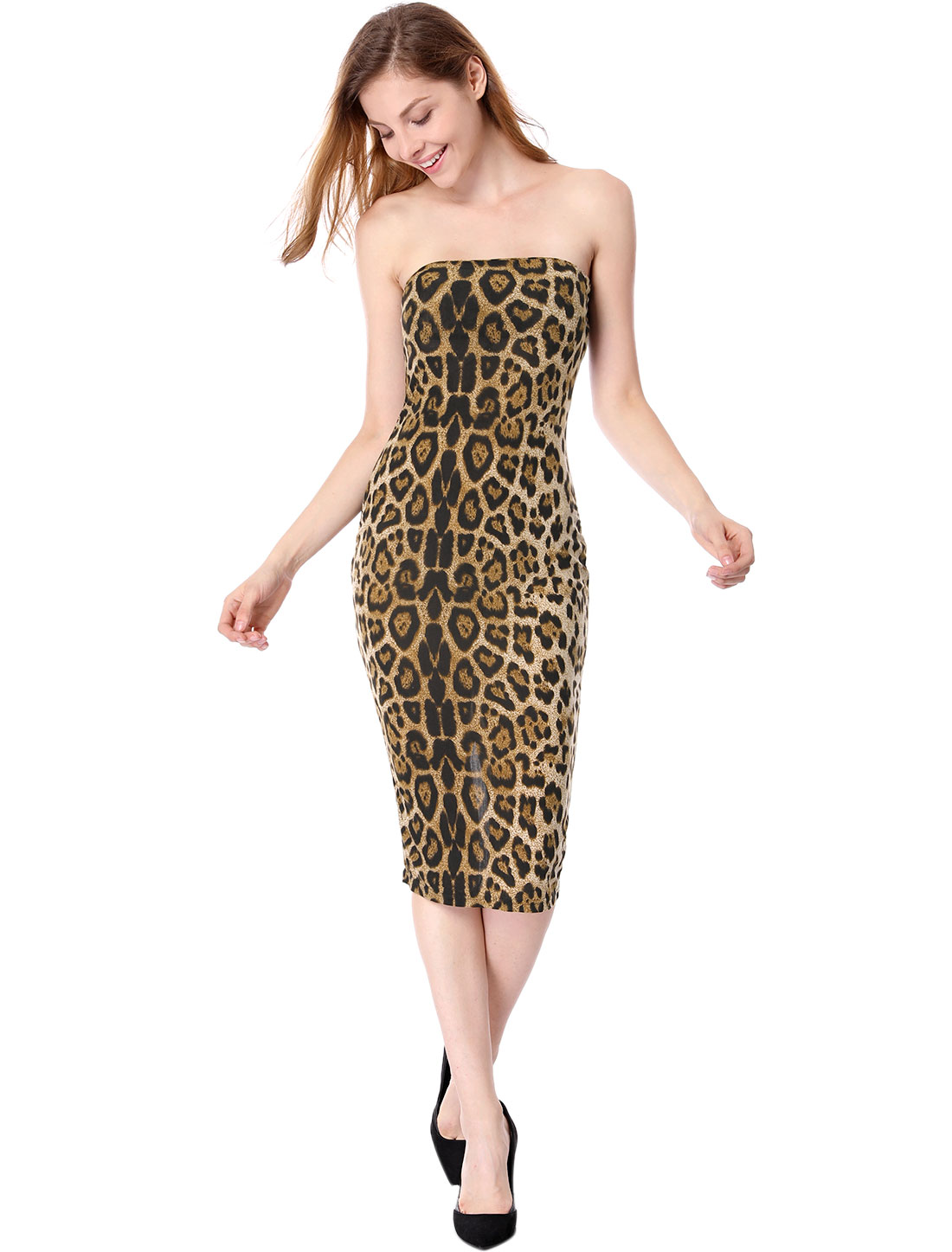 Woman Coffee Color Leopard Pattern Close-fitting Tube Dress XS