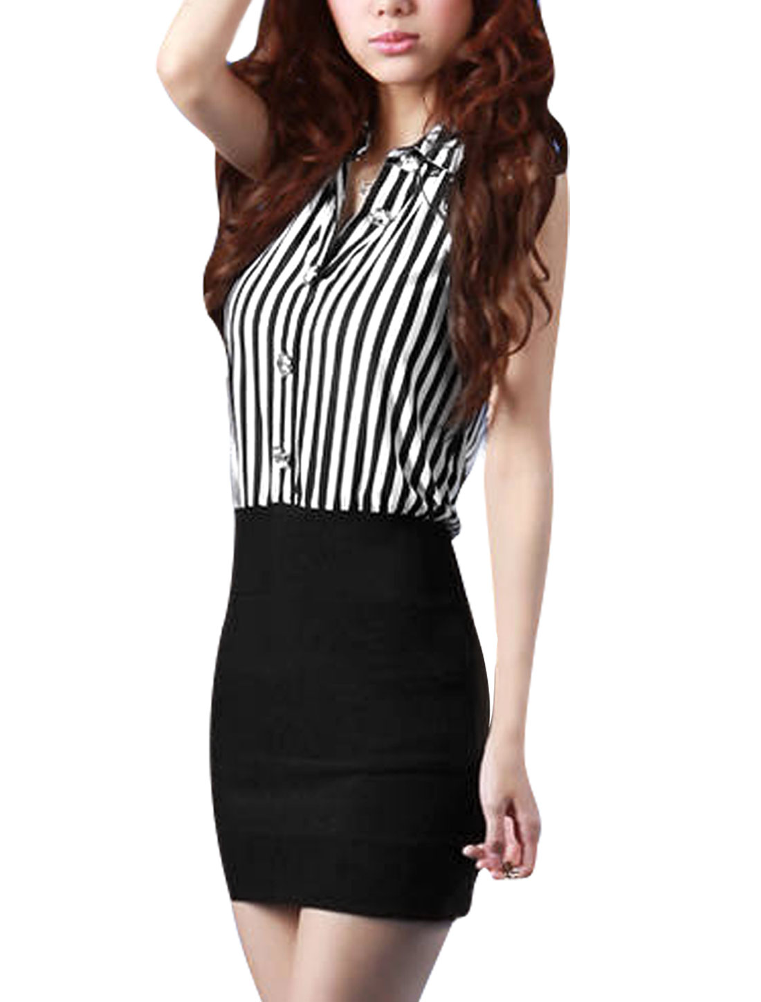 Lady Black White Point Collar Sleeveless Vertical Stripes Splice Mini Dress XS
