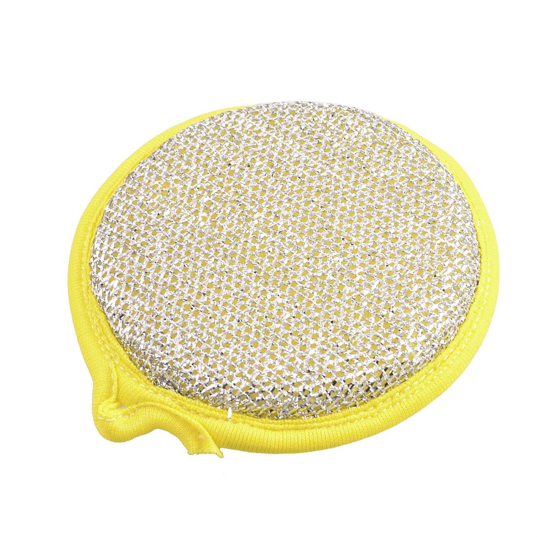 """5"""" Diameter Yellow Edge Silver Tone Metallic Scrub Cleaning Pad"""