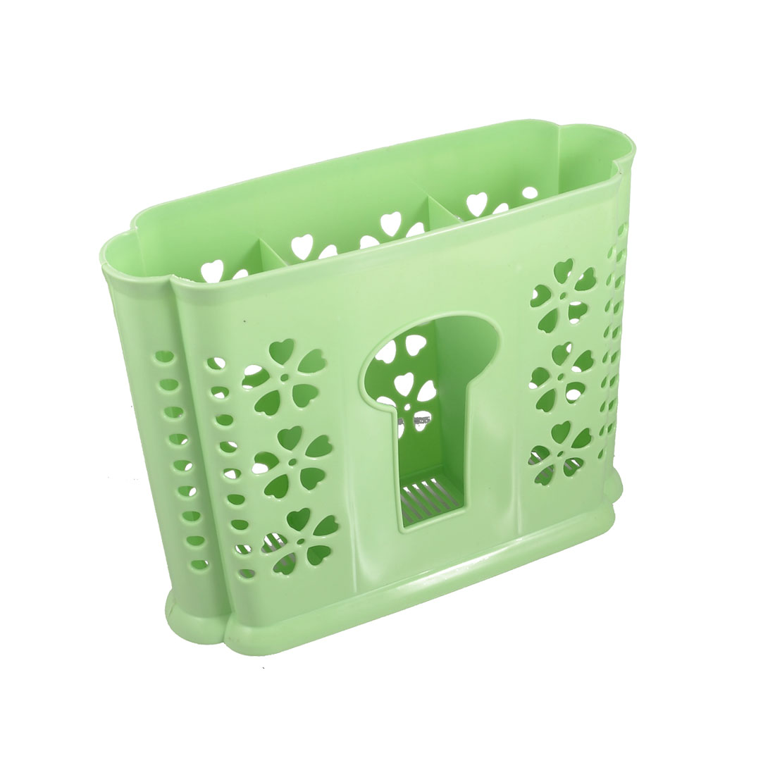 Green Plastic 3 Compartments Chopsticks Case Organizer