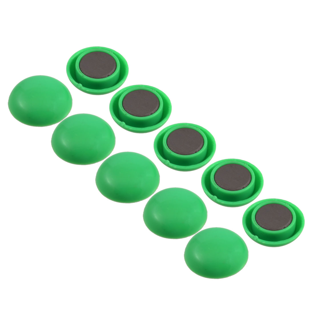 "10 Pcs 0.79"" Dia Round Shaped Green Plastic Magnetic Sticker"