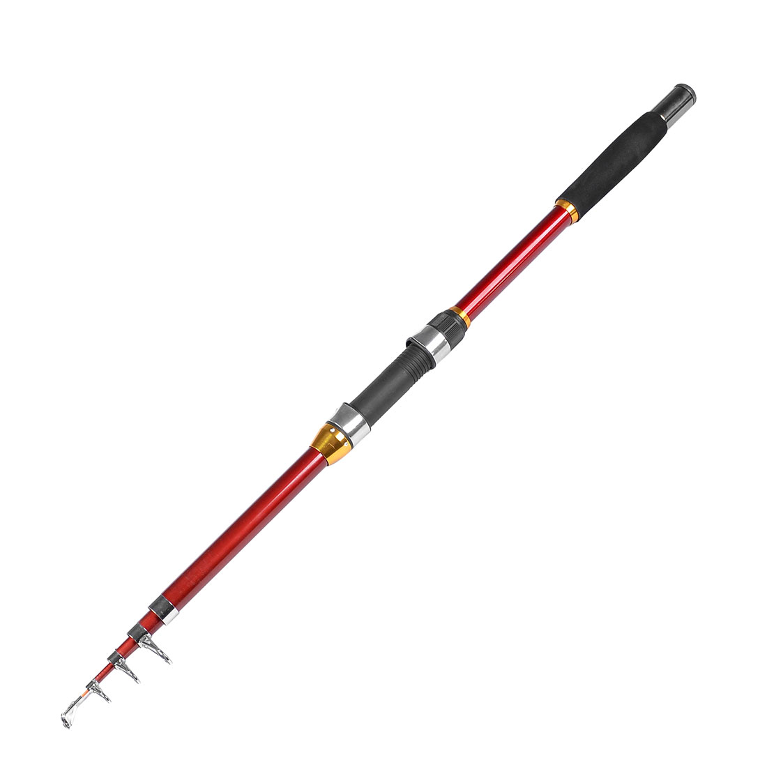 1.84M Length Line Guide Telescopic 5 Sections Fishing Rod Pole Red Gold Tone
