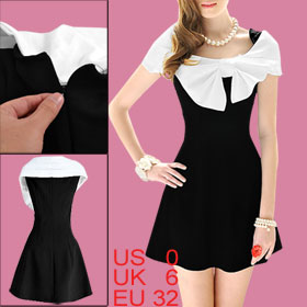 Ladies Black Scoop Neck Cap Sleeve Hidden Side Zipper Butterfly Knot Decor Dress XS