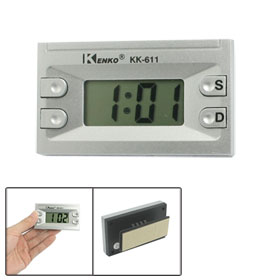 Auto Car Hour Second LCD Screen Display Digital Clock Silver Tone