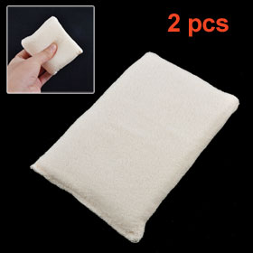2 Pcs Ivory Soft Terry Covered Rectangle Sponge Pad for Bowl Dishes Cleaning