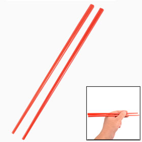 Home Kitchen Tableware Red Plastic Tapered Chopsticks 2 Pcs
