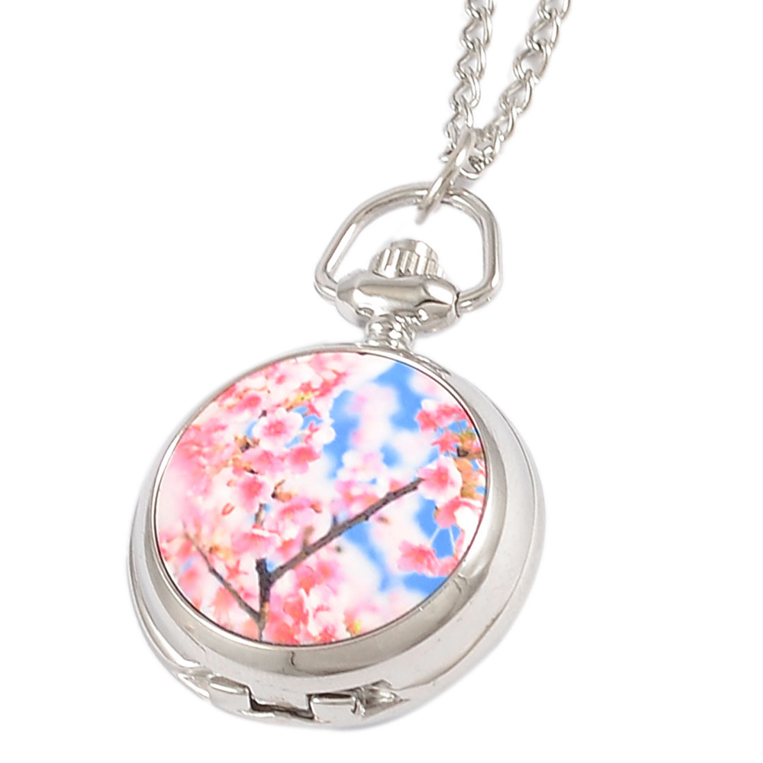 Woman Pink Peach Blossom Print Metal Hunter Round Case Necklace Watch