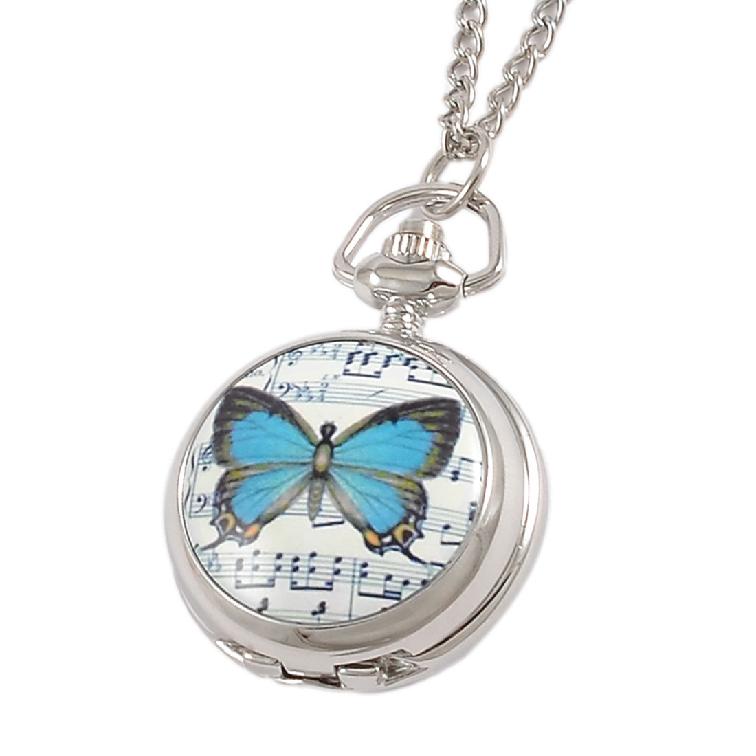 Blue Butterfly Print Hunter Round Case Necklace Pocket Watch for Ladies