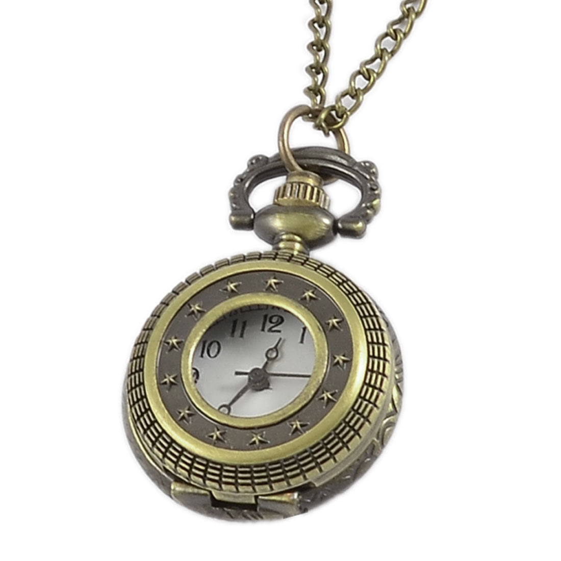 Bronze Tone Metal Half Hunter Case Arabic Number Necklace Pocket Watch
