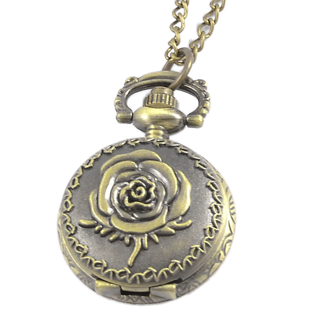 Women Rose Embossed Metal Bronze Tone Arabic Numbers Dial Metal Pocket Watch