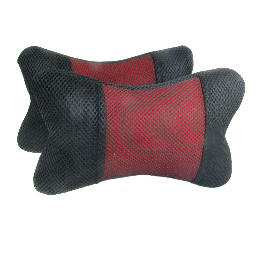 2 Pcs Nylon Mesh Cover Fibre Car Rest Pillow Cushion Black Red