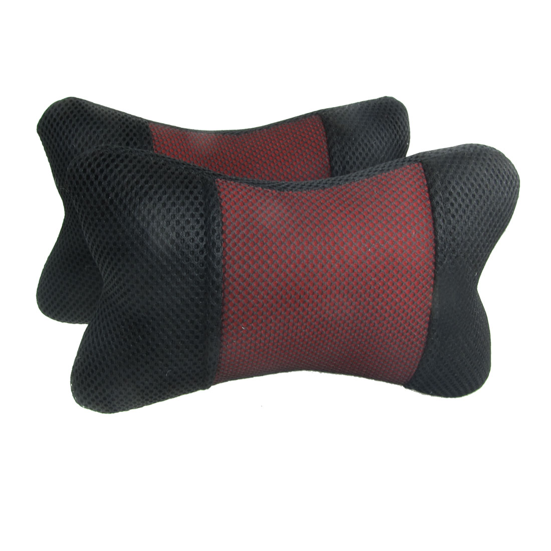 Black Red Nylon Mesh Covered Vechile Car Pillow Cushion Pad 2 Pcs