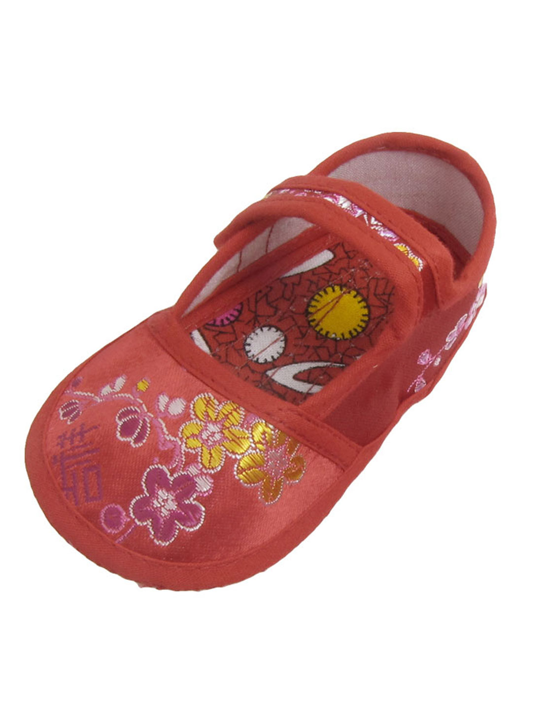 2 x Yellow Amaranth Floral Print Red Baby Crib Toddler Shoes US 3.5