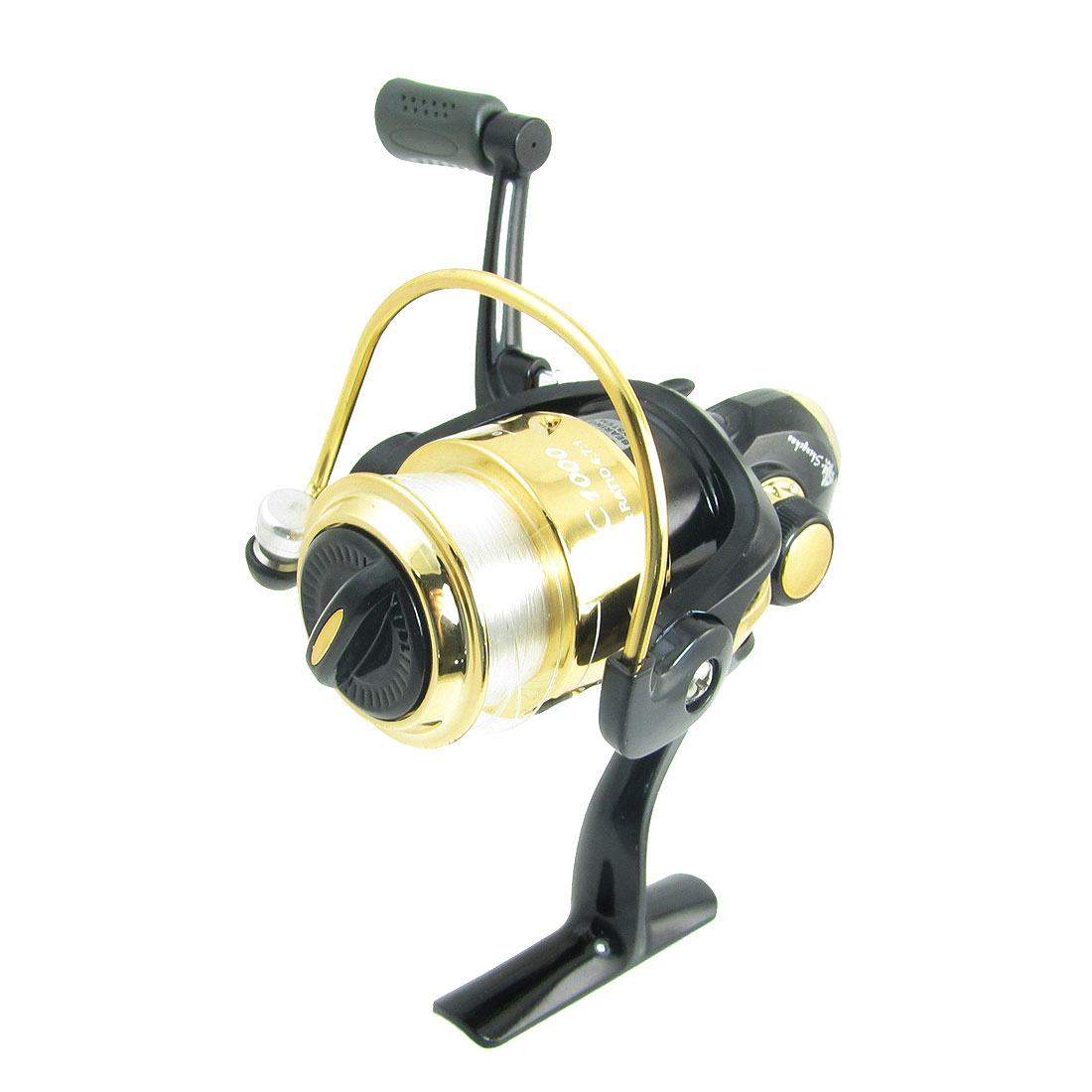 Gear Ratio 4.7:1 Fishing Spinning Reel Black Gold Tone w Line