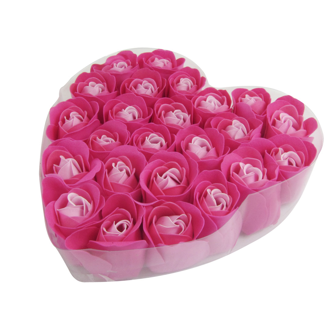 24 Pcs Fuchsia Scented Bath Soap Rose Petal in Heart Box
