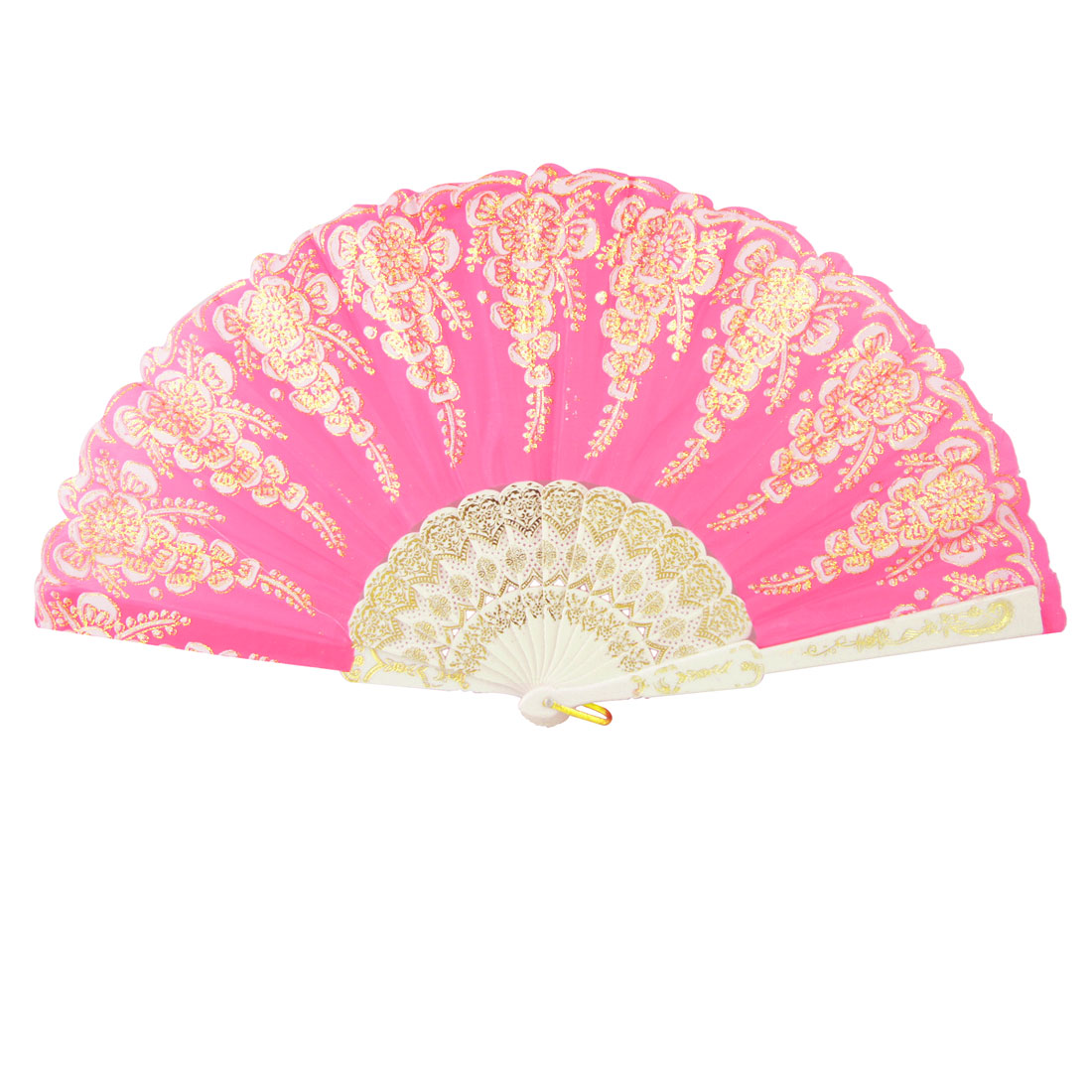 Lotus Leaf Painted Plastic Organza Fuchsia White Hand Folding Fan for Lady