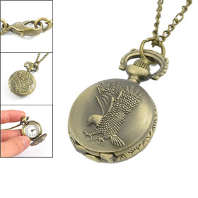 Lady Eagle Embossed Print Adjustable Time Metal Necklace Pocket Watch