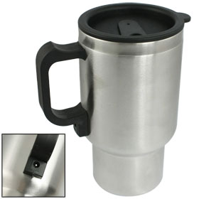 Car Interior Stainless Steel Thermal Mug Cup Silver Tone Black