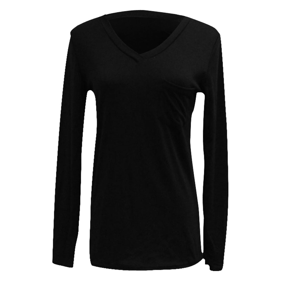 Ladies Black Single Pocket Top Long Sleeve Stretchy Autumn Leisure Top Shirt XS