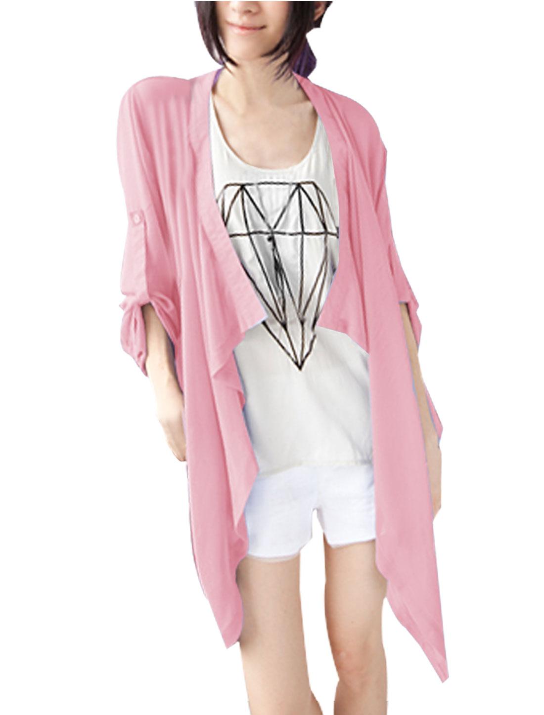 Women Semi Sheer Roll Up Sleeves Irregular Hem Chiffon Coat Pink XS