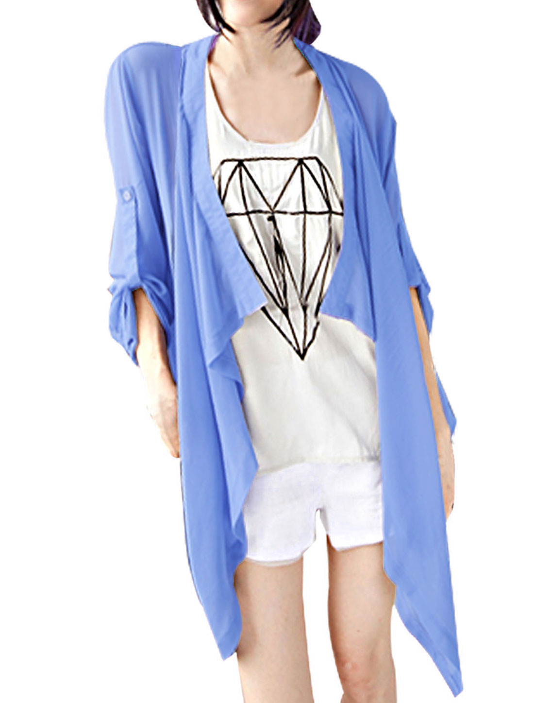 Women Semi Sheer Roll Up Sleeves Irregular Hem Chiffon Coat Blue XS