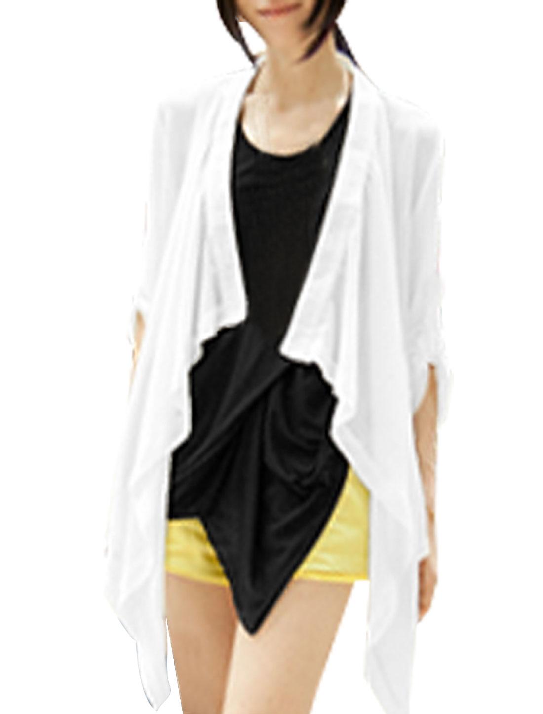 Women Semi Sheer Roll Up Sleeves Irregular Hem Chiffon Coat White XS