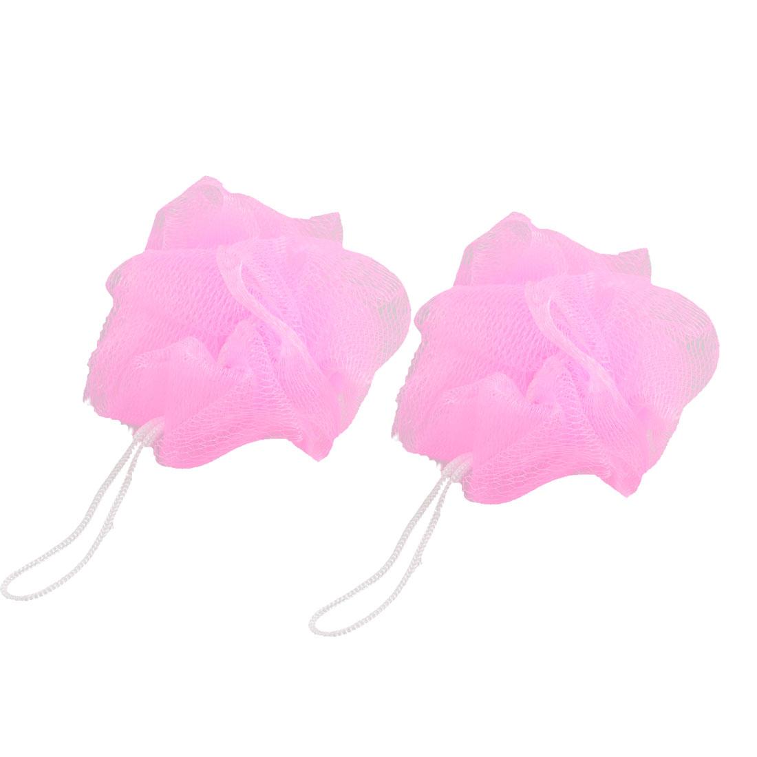 2 Pcs Mesh Pouf Shower Body Cleaning Fine Bath Ball Pink