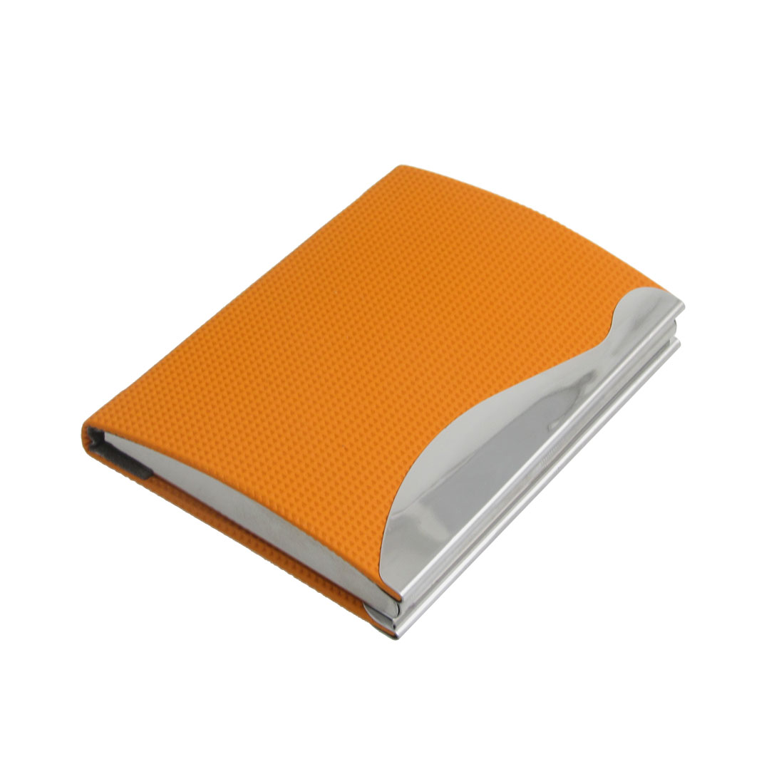 Faux Leather Coated Textured Business Card Holder Orange