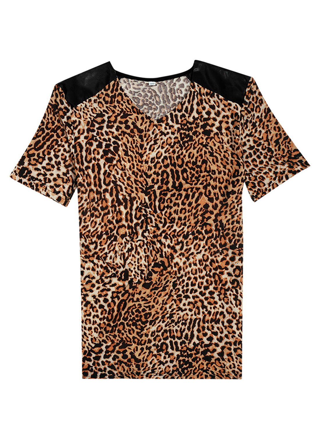 Men Leopard Print V Neck T Shirt Short Sleeve Shoulder PU Panel T-Shirt S