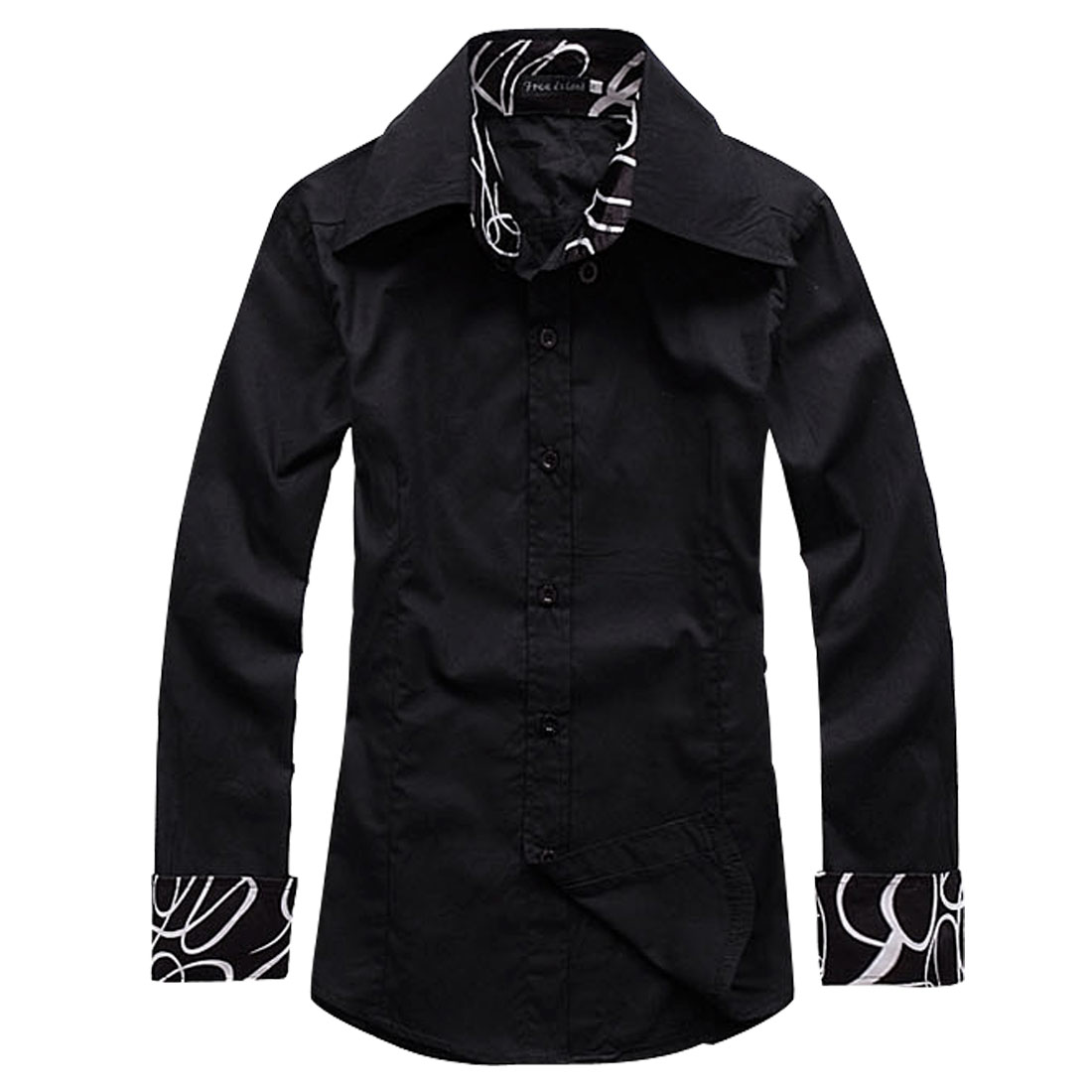 Mens Casual Fashion Black Single Breasted Trendy Spring Shirt Tops S