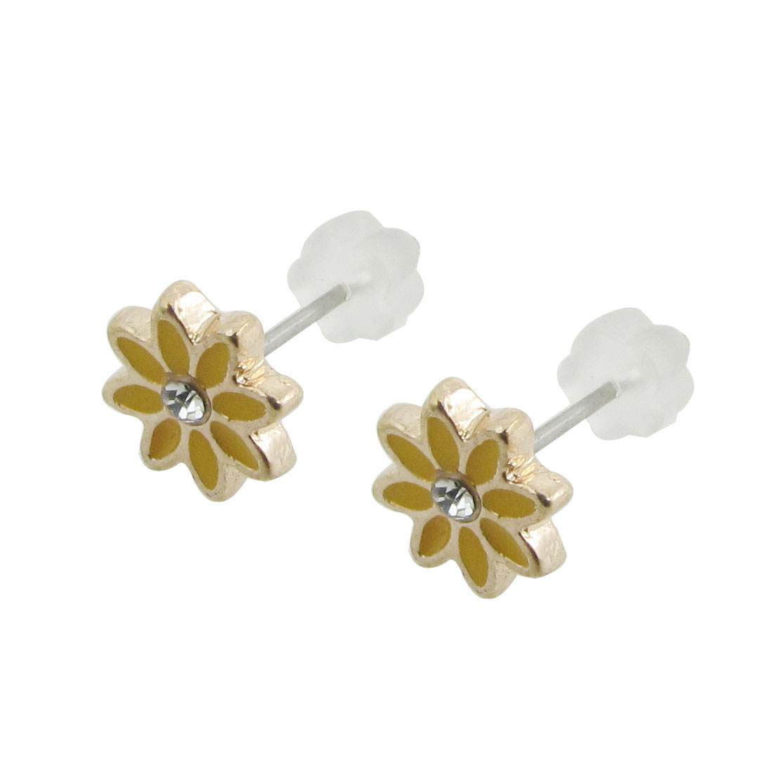 2 Pcs Yellow Flower Shape Stud Pierced Earrings for Lady