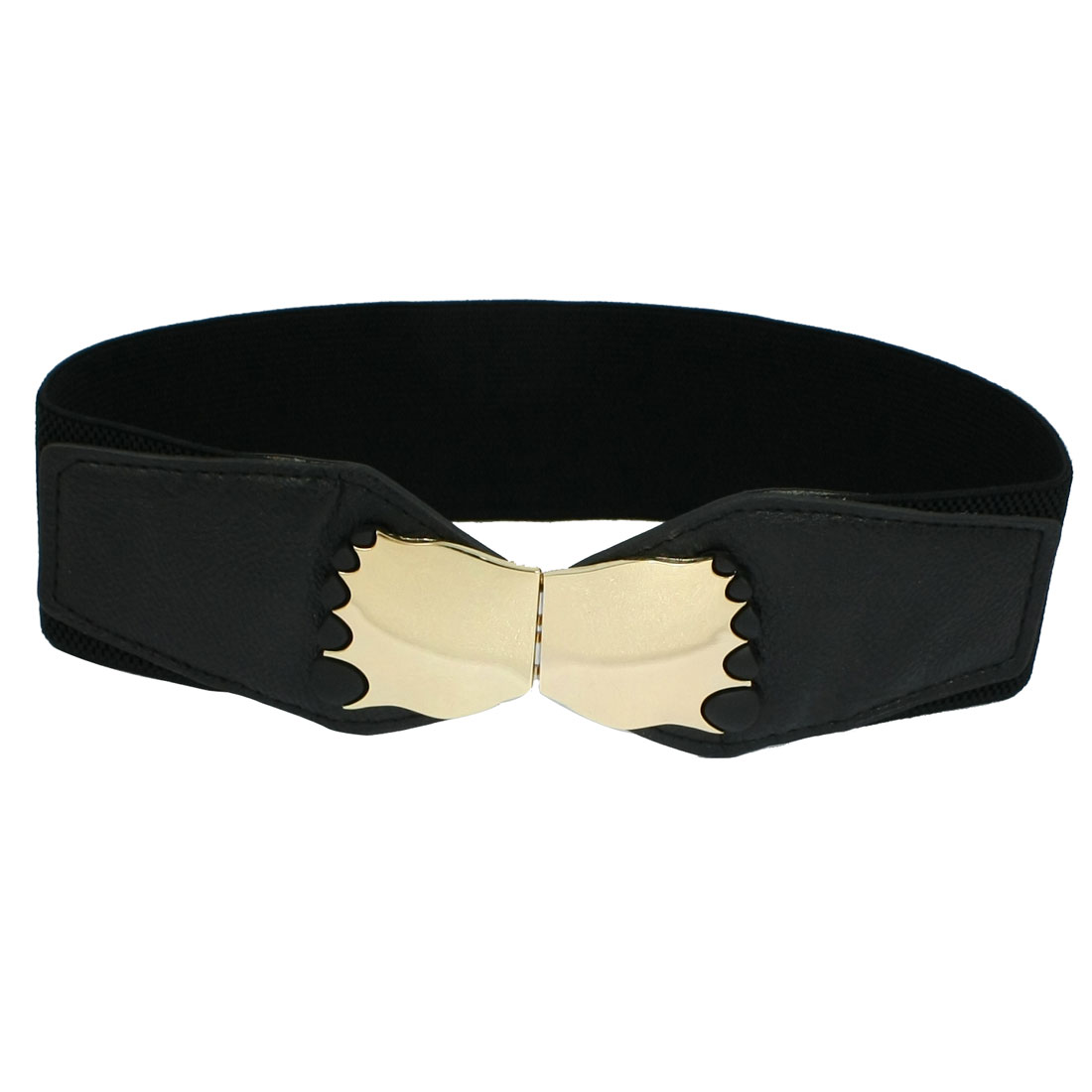 Women Sliver Tone Metal Feet Shaped Buckle Black Elastic Cinch Belt